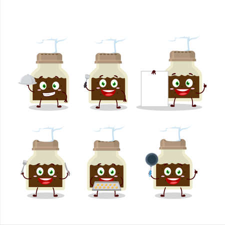 Cartoon character of black pepper bottle with various chef emoticons