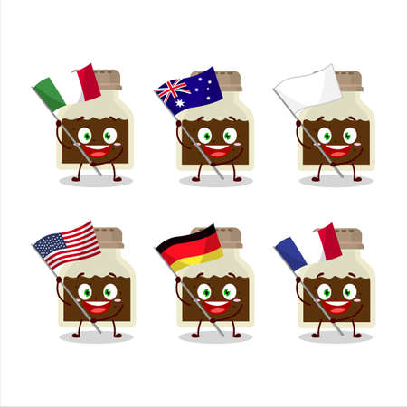 Black pepper bottle cartoon character bring the flags of various countries Vettoriali