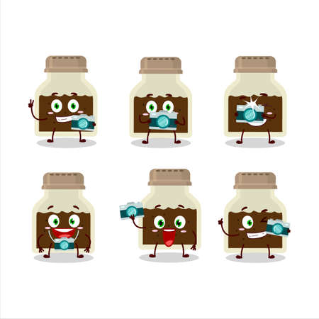 Photographer profession emoticon with black pepper bottle cartoon character