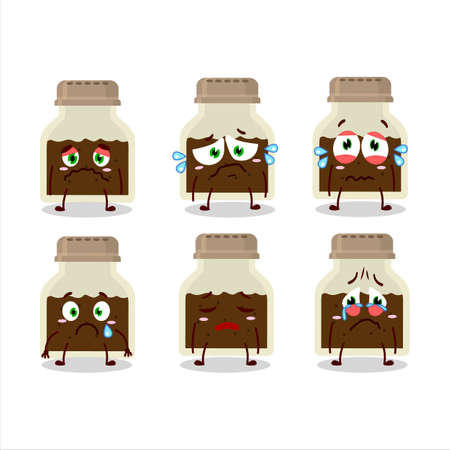 Black pepper bottle cartoon character with sad expression