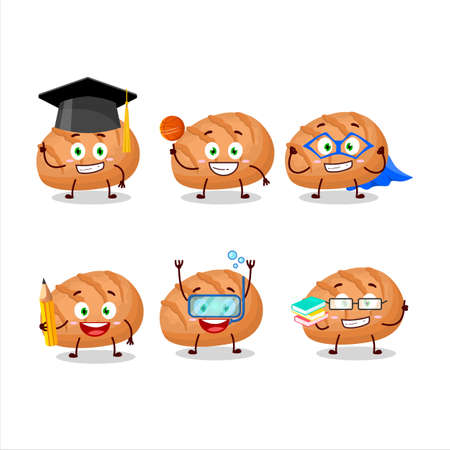 School student of bun bread cartoon character with various expressions