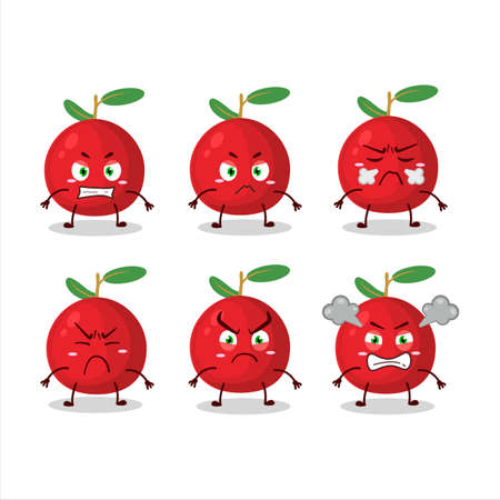 Cranberry cartoon character with various angry expressions