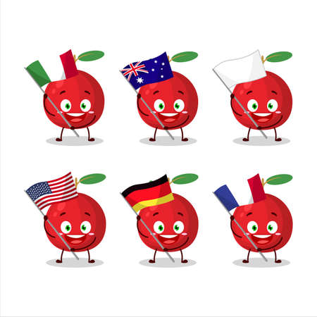 Cranberry cartoon character bring the flags of various countries