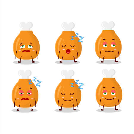 Cartoon character of chicken thighs with sleepy expression 矢量图像