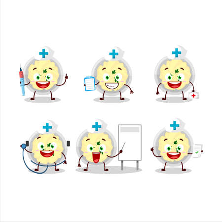 Doctor profession emoticon with mashed potatoes cartoon character