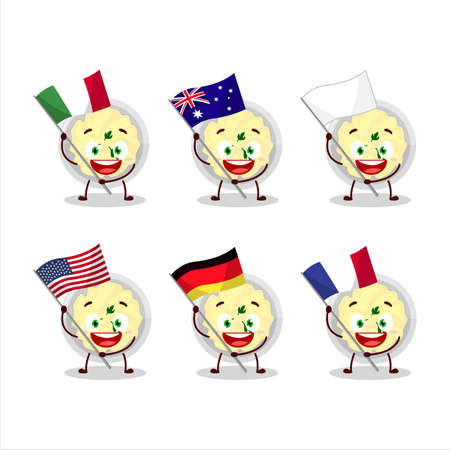 Mashed potatoes cartoon character bring the flags of various countries