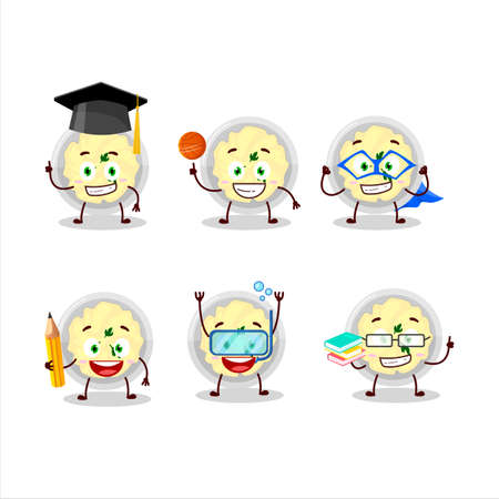 School student of mashed potatoes cartoon character with various expressions