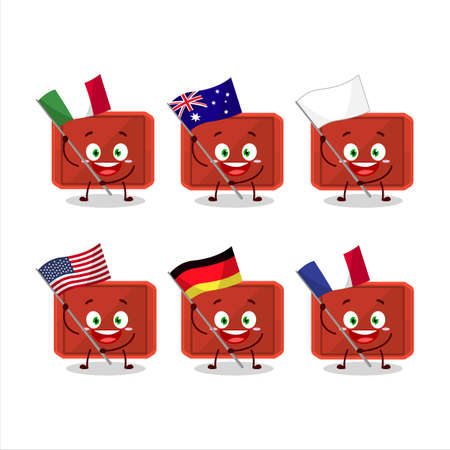 Red plastic tray cartoon character bring the flags of various countries Vettoriali