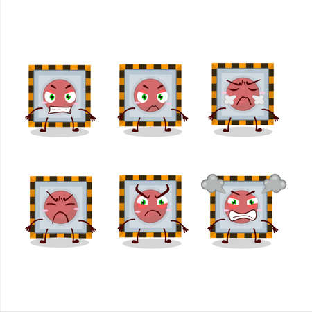 Among us emergency button cartoon character with various angry expressions Vetores