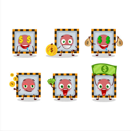 emergency button cartoon character with cute emoticon bring money Ilustracja