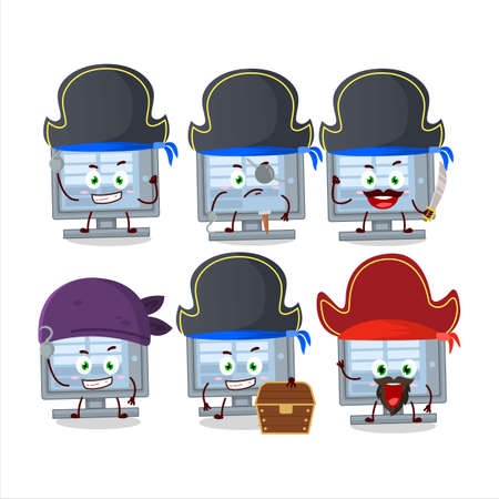 Cartoon character of  monitor with various pirates emoticons