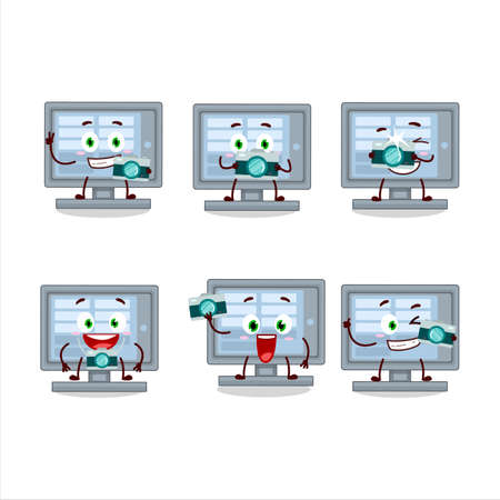 Photographer profession emoticon with  monitor cartoon character