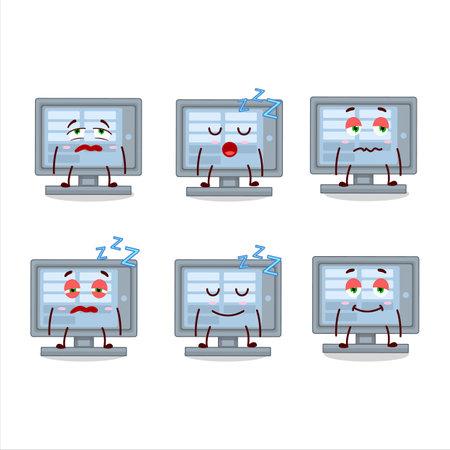 Cartoon character of  monitor with sleepy expression Ilustracja
