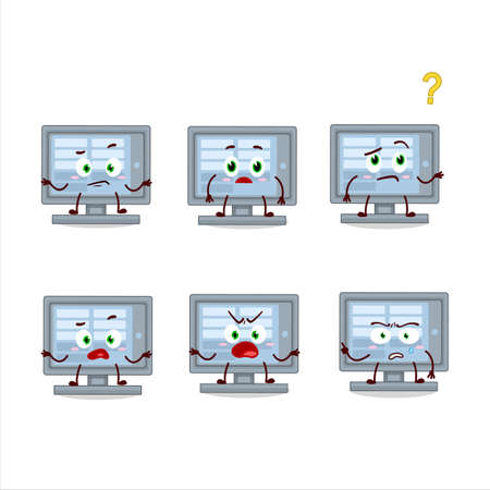 Cartoon character of   monitor with what expression Ilustracja