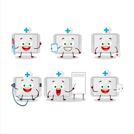 Doctor profession emoticon with silver plastic tray cartoon character