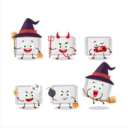 Halloween expression emoticons with cartoon character of silver plastic tray