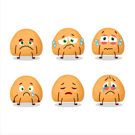 Sweet cookies cartoon character with sad expression