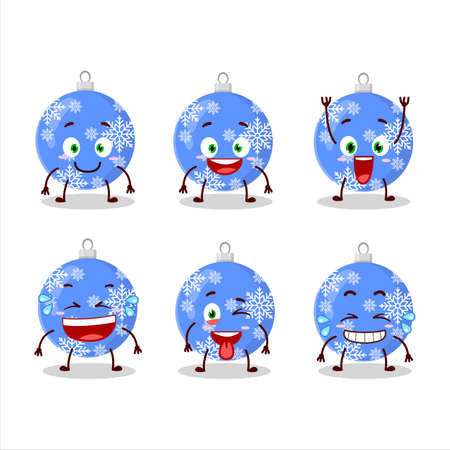 Cartoon character of christmas ball blue with smile expression