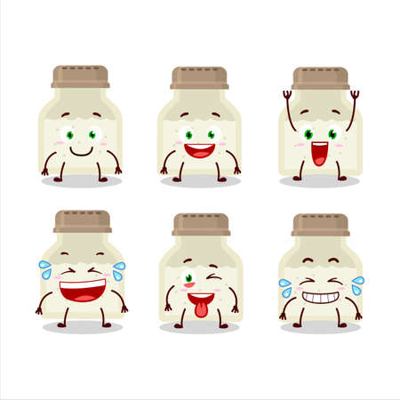 Cartoon character of white pepper bottle with smile expression