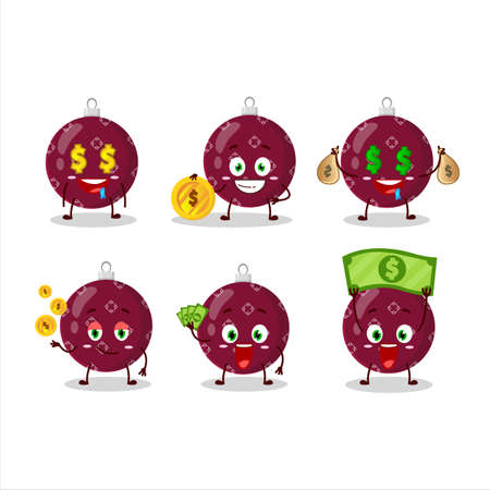 Christmas ball dark purple cartoon character with cute emoticon bring money Illusztráció