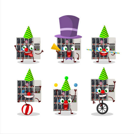 Cartoon character of  vending machine with various circus shows