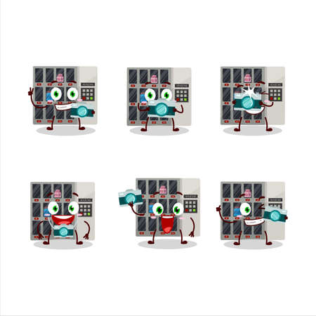 Photographer profession emoticon with among us vending machine cartoon character