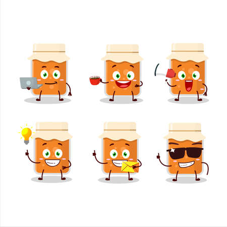 Apricot jam cartoon character with various types of business emoticons Ilustrace