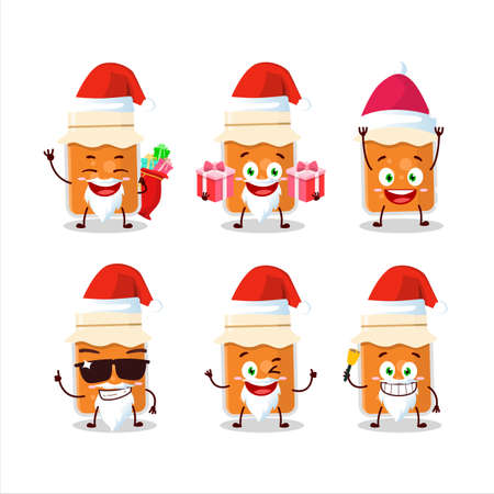 Santa Claus emoticons with apricot jam cartoon character Ilustrace