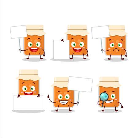 Apricot jam cartoon character bring information board
