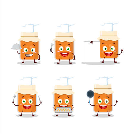 Cartoon character of apricot jam with various chef emoticons