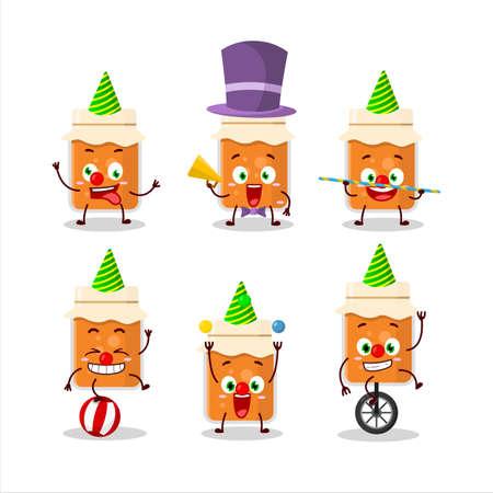 Cartoon character of apricot jam with various circus shows
