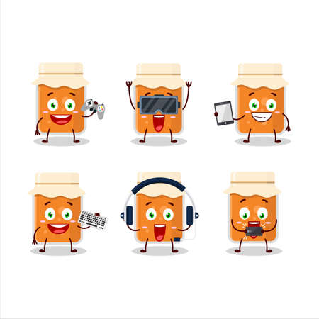 Apricot jam cartoon character are playing games with various cute emoticons