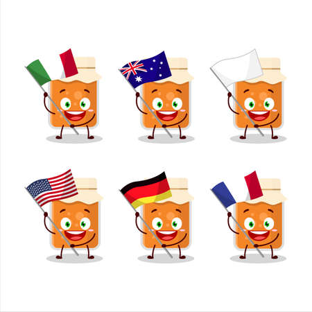 Apricot jam cartoon character bring the flags of various countries Ilustrace
