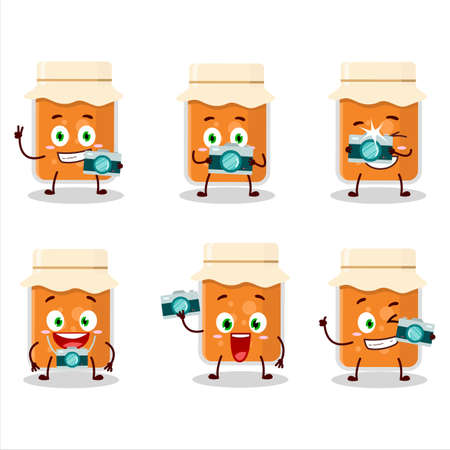 Photographer profession emoticon with apricot jam cartoon character