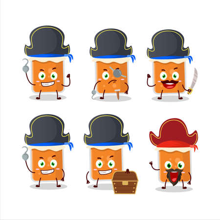 Cartoon character of apricot jam with various pirates emoticons