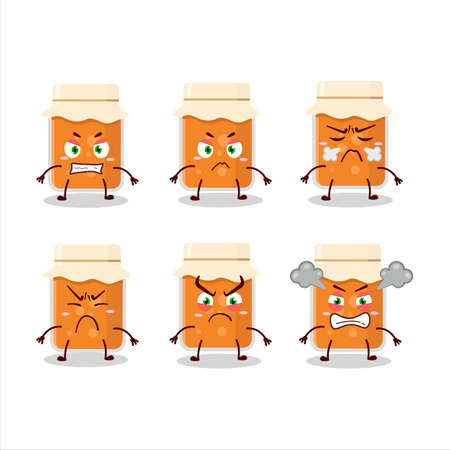 Apricot jam cartoon character with various angry expressions