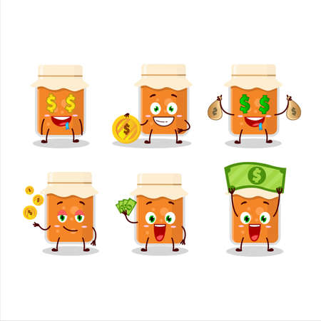Apricot jam cartoon character with cute emoticon bring money