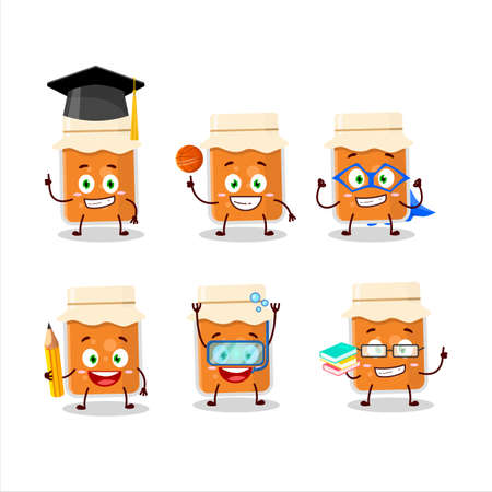 School student of apricot jam cartoon character with various expressions