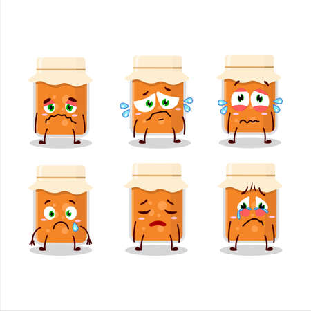 Apricot jam cartoon character with sad expression