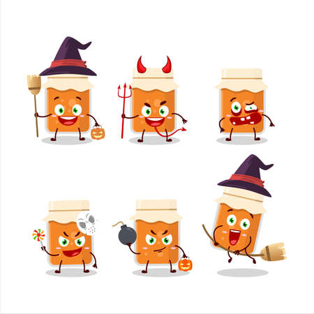 Halloween expression emoticons with cartoon character of apricot jam Ilustrace