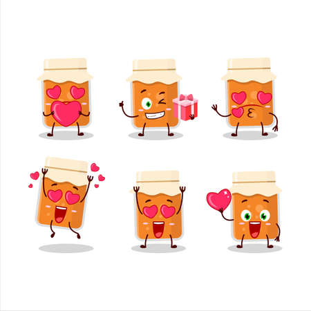 Apricot jam cartoon character with love cute emoticon