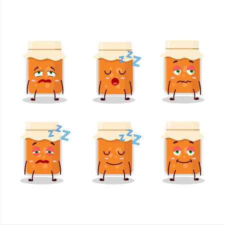 Cartoon character of apricot jam with sleepy expression Ilustrace