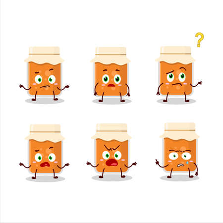 Cartoon character of apricot jam with what expression Ilustrace
