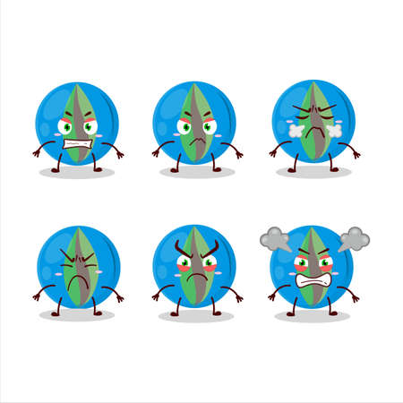 Blue marbles cartoon character with various angry expressions Ilustrace
