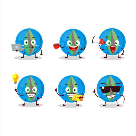Blue marbles cartoon character with various types of business emoticons Ilustrace