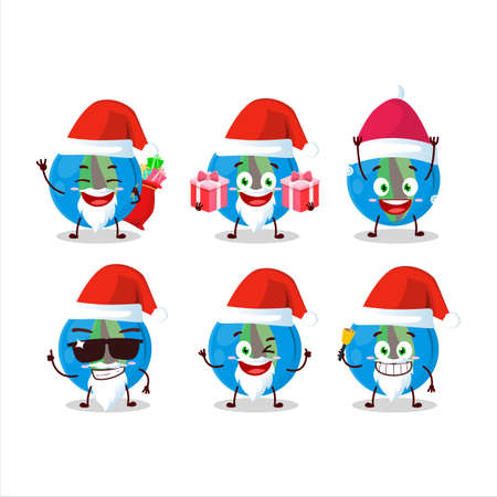 Santa Claus emoticons with blue marbles cartoon character Ilustrace