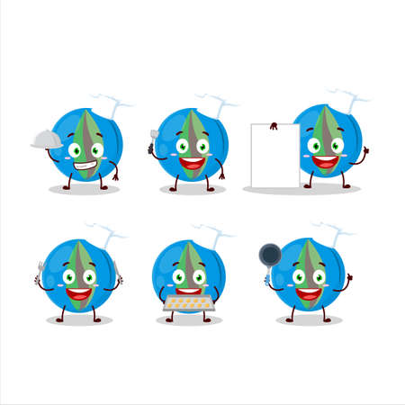 Cartoon character of blue marbles with various chef emoticons Ilustrace
