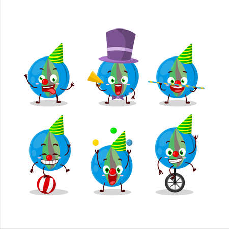 Cartoon character of blue marbles with various circus shows