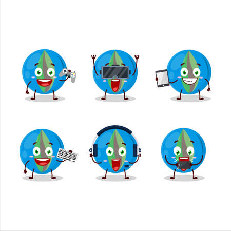 Blue marbles cartoon character are playing games with various cute emoticons Ilustrace
