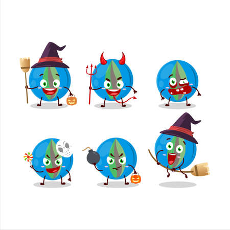 Halloween expression emoticons with cartoon character of blue marbles